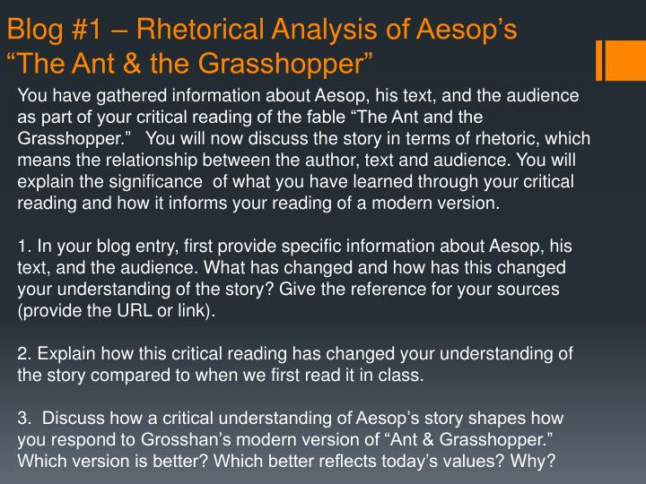Blog 1 rhetorical analysis o f aesop s the ant the grasshopper
