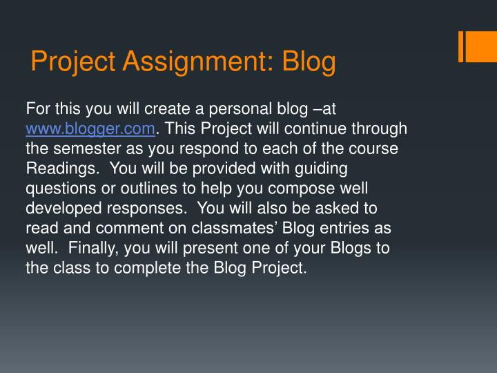 Project assignment blog