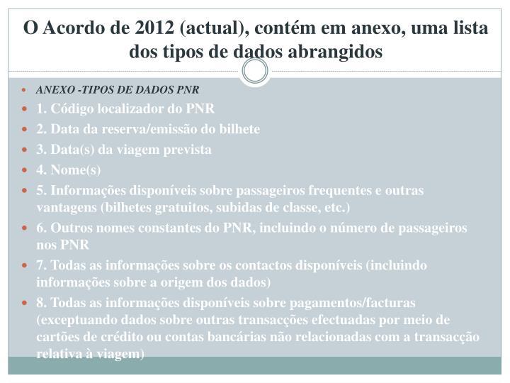 O Acordo de 2012 (actual), contém em anexo, uma lista dos tipos de dados abrangidos
