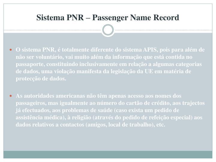 Sistema PNR – Passenger Name Record