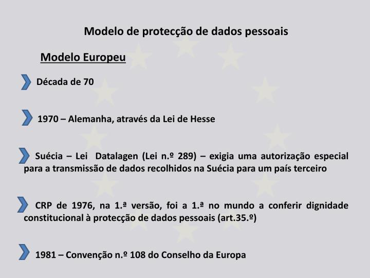 Modelo de protecção de dados pessoais