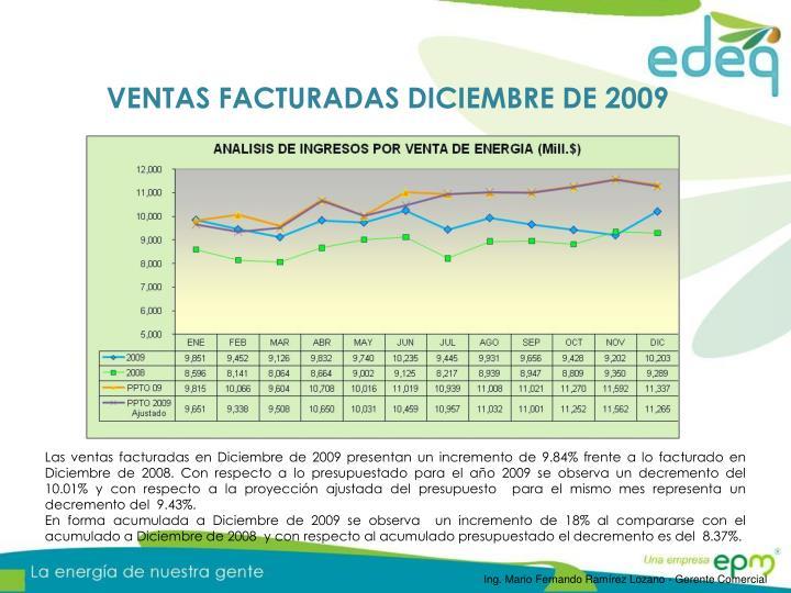 VENTAS FACTURADAS DICIEMBRE DE 2009