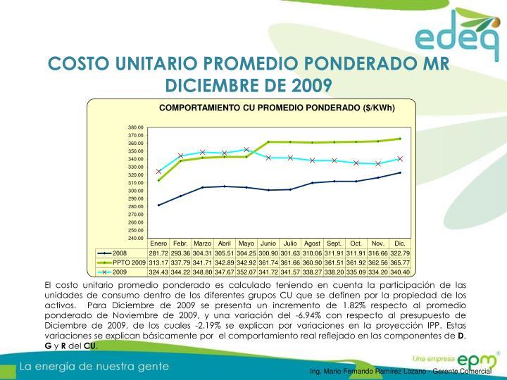COSTO UNITARIO PROMEDIO PONDERADO MR DICIEMBRE DE 2009