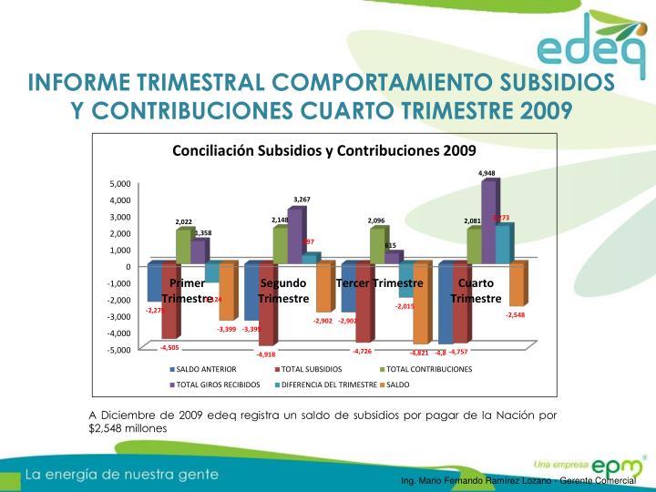 INFORME TRIMESTRAL COMPORTAMIENTO SUBSIDIOS Y CONTRIBUCIONES CUARTO TRIMESTRE 2009