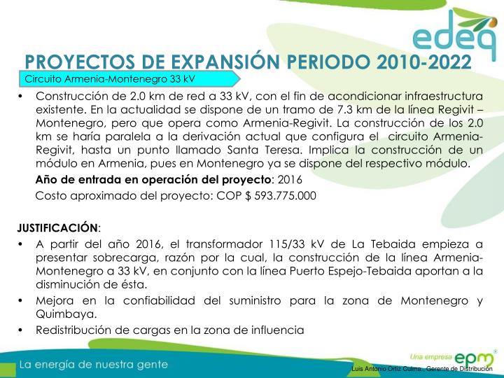 PROYECTOS DE EXPANSIÓN PERIODO 2010-2022