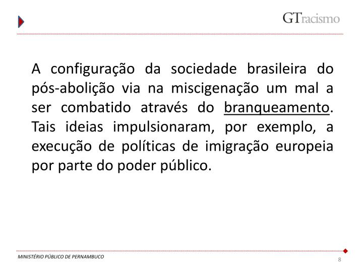 A configuração da sociedade brasileira do pós-abolição via na miscigenação um mal a ser combatido através do