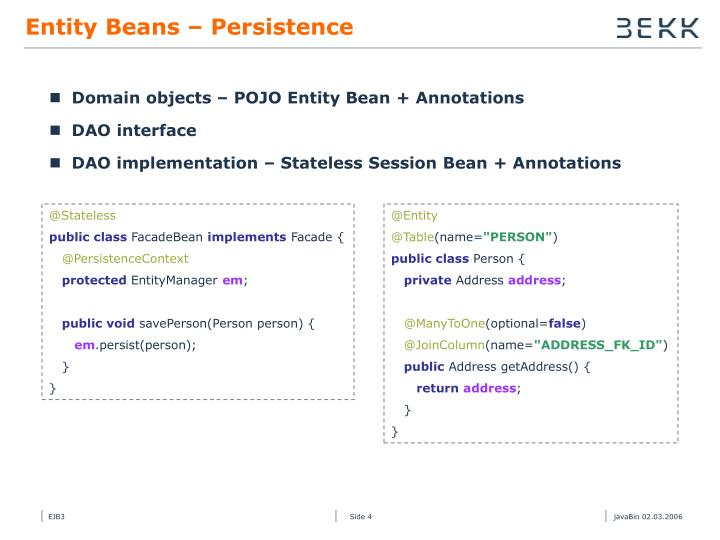 Entity Beans – Persistence