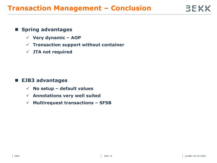 Transaction Management – Conclusion