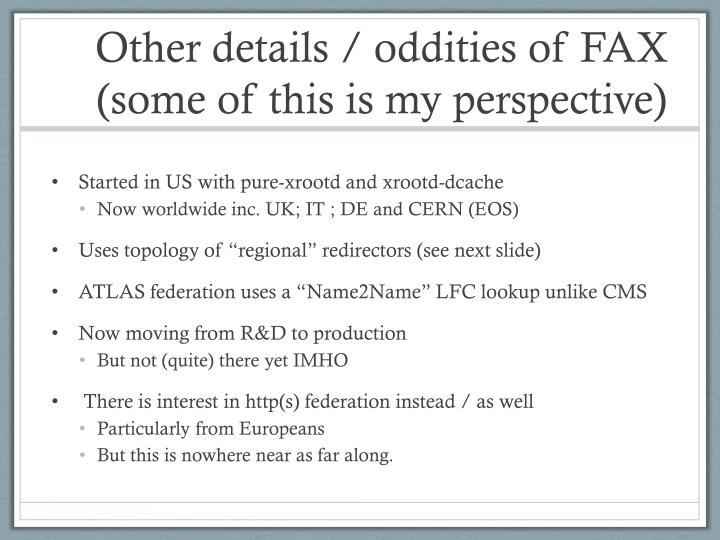 Other details / oddities of FAX