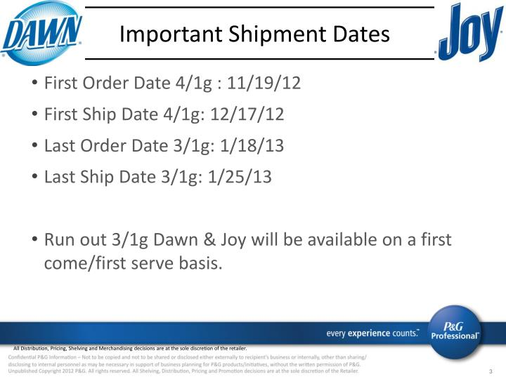 Important Shipment Dates
