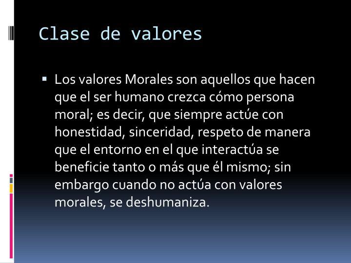 Clase de valores