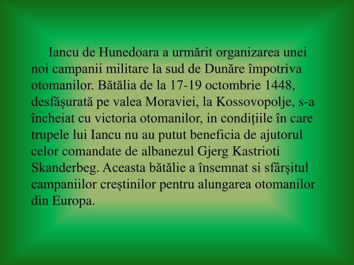 Iancu de Hunedoara a urmărit organizarea unei noi campanii militare la sud de Dunăre