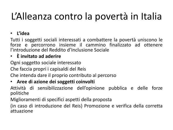 L'Alleanza contro la povertà in Italia