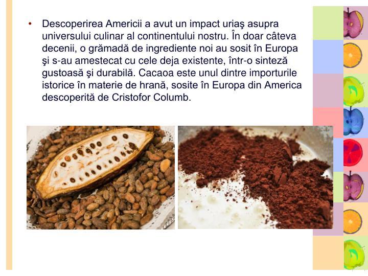 Descoperirea Americii a avut un impact uriaş asupra universului culinar al continentului nostru. În doar câteva decenii, o grămadă de ingrediente noi au sosit în Europa şi s-au amestecat cu cele deja existente, într-o sinteză gustoasă şi durabilă