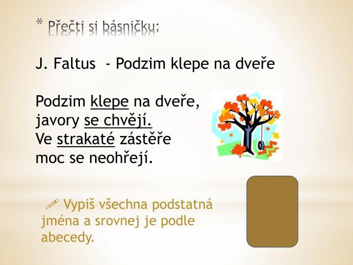 J. Faltus  - Podzim klepe na dveře