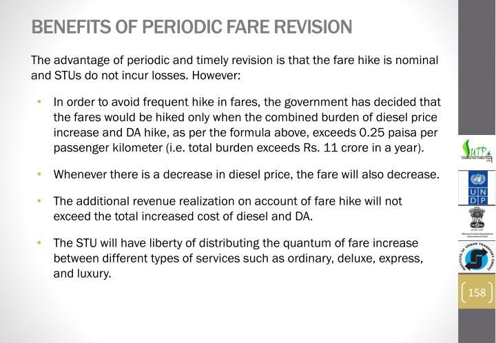Benefits of Periodic Fare Revision