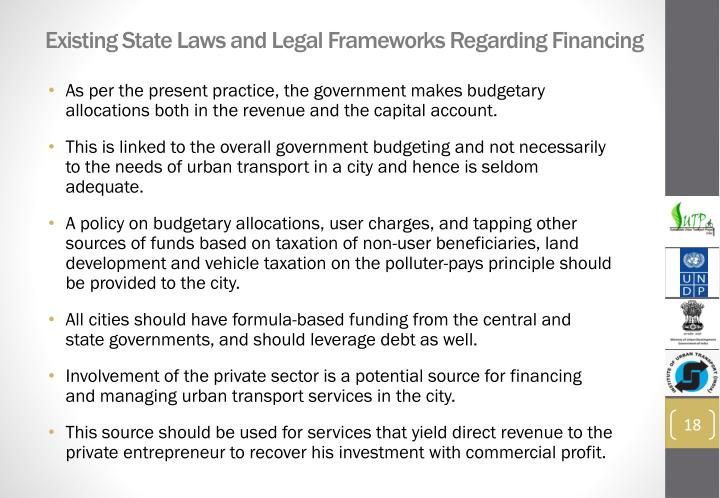 Existing State Laws and Legal Frameworks Regarding Financing