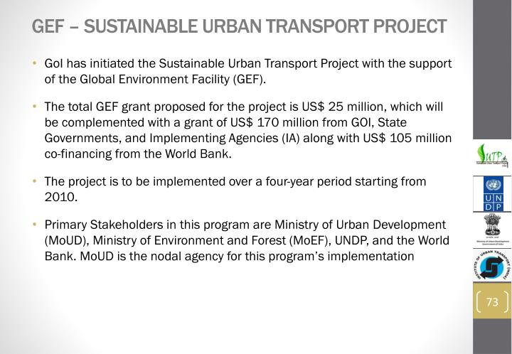 GEF – Sustainable Urban Transport Project