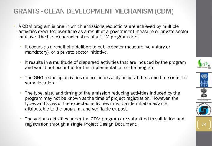 Grants - Clean Development Mechanism (CDM)