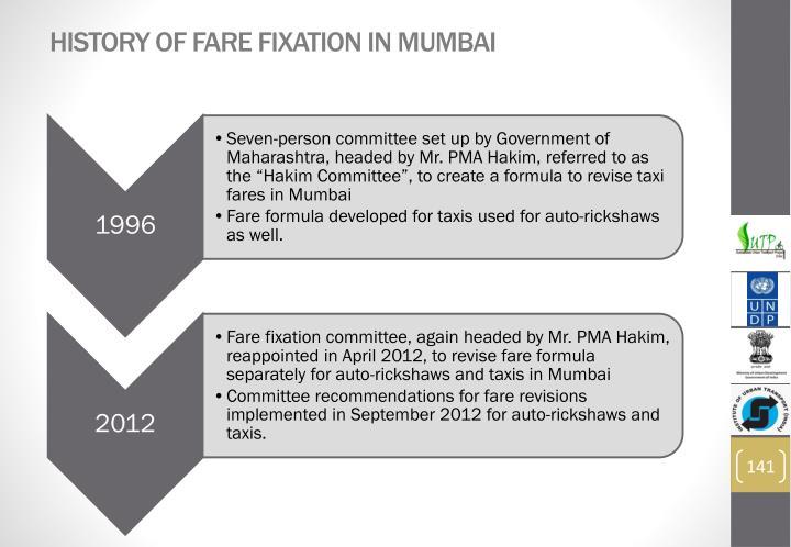 History of Fare Fixation in Mumbai