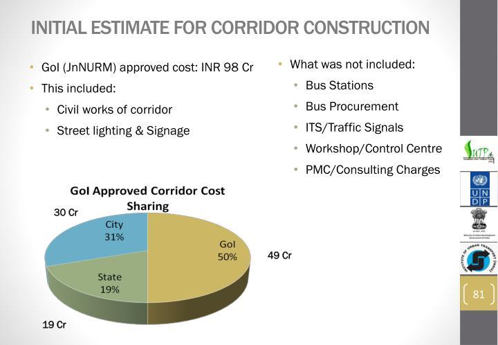 Initial estimate for corridor construction