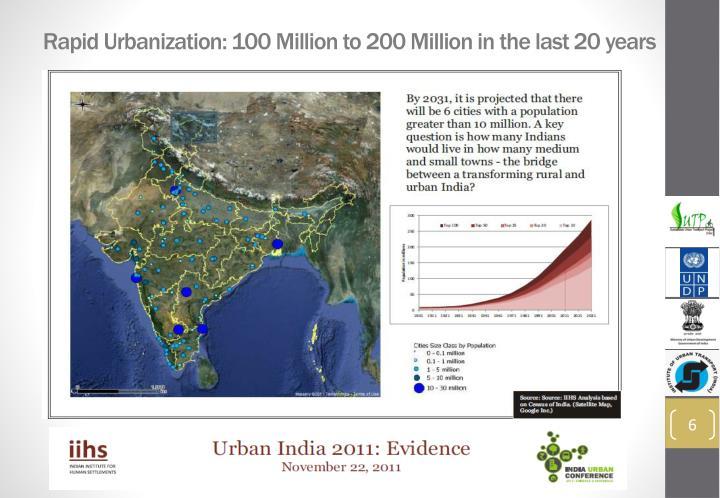 Rapid Urbanization: 100 Million to 200 Million in the last 20 years