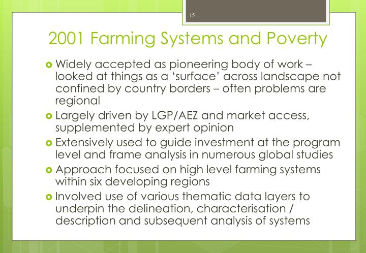 2001 Farming Systems and Poverty