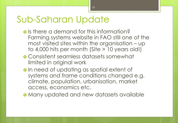 Sub-Saharan Update