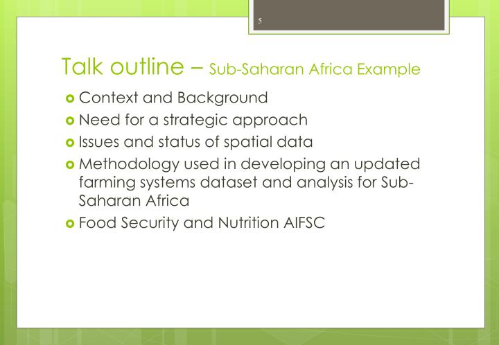 Talk outline –