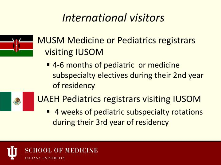 MUSM Medicine or Pediatrics registrars visiting IUSOM