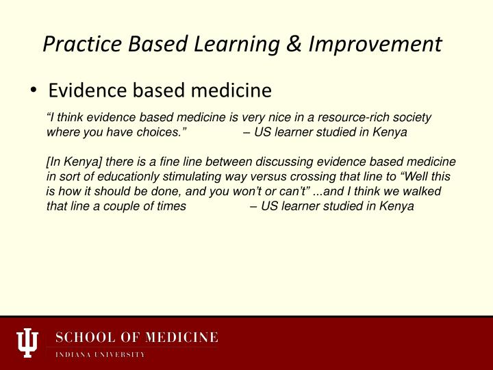 Practice Based Learning & Improvement