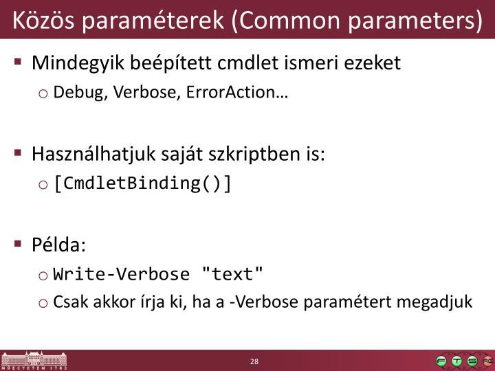 Közös paraméterek (