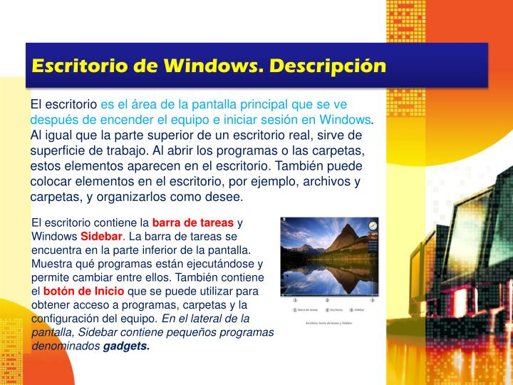 Escritorio de Windows. Descripción