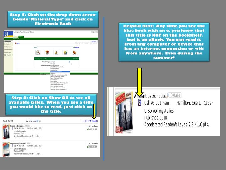 Step 5: Click on the drop down arrow beside 'Material Type' and click on Electronic Book