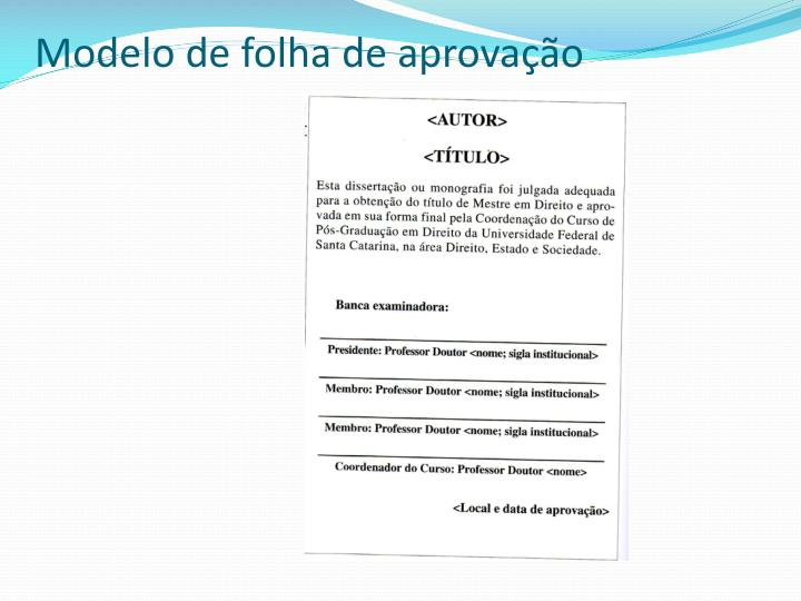 Modelo de folha de aprovao