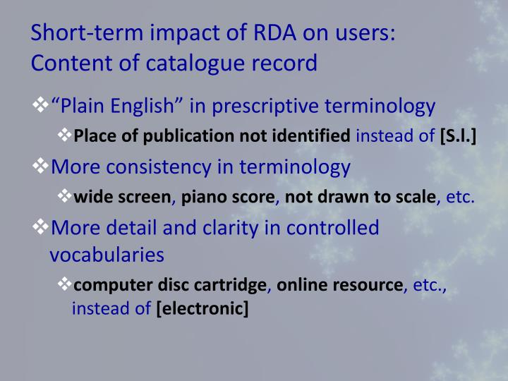 Short-term impact of RDA on users: