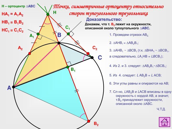 Точки, симметричные ортоцентру относительно сторон тупоугольного треугольника