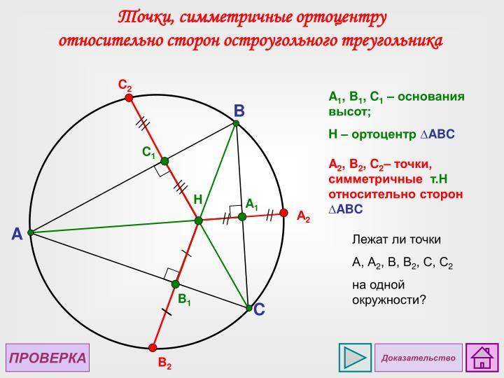 Точки, симметричные ортоцентру