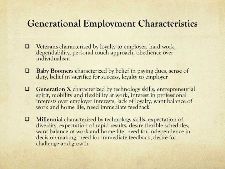 Generational Employment Characteristics