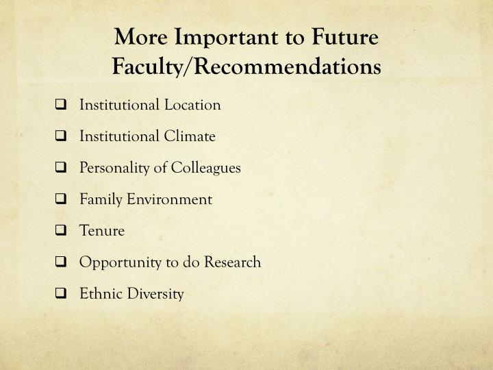 More Important to Future Faculty/Recommendations
