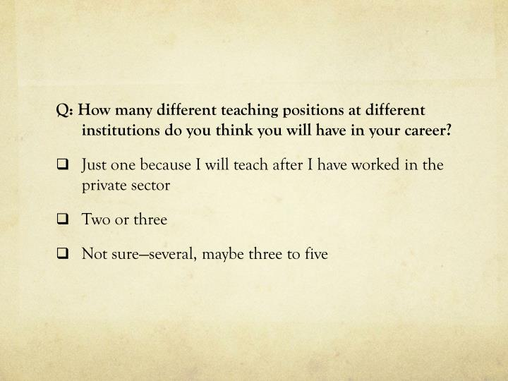 Q: How many different teaching positions at different institutions do you think you will have in your career?