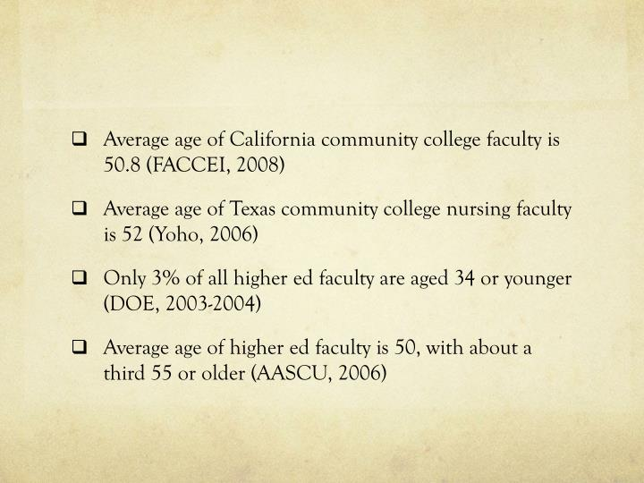 Average age of California community college faculty is 50.8 (FACCEI, 2008)