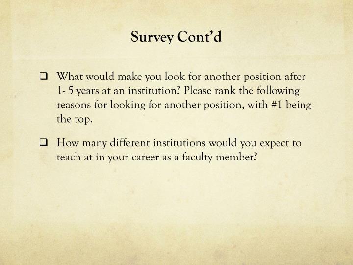 Survey Cont'd