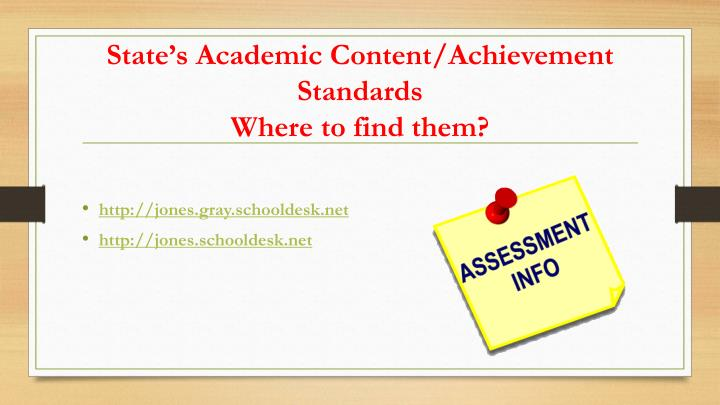 State's Academic Content/Achievement Standards