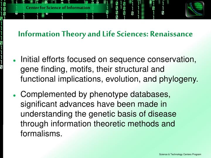 Information Theory and Life Sciences: Renaissance