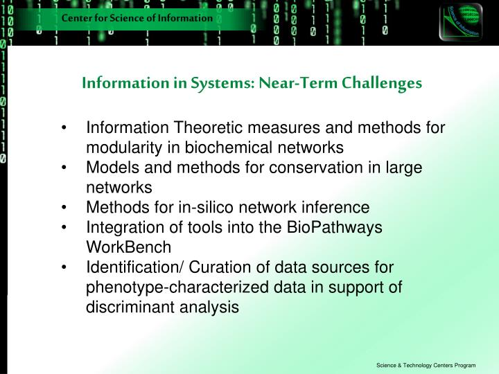 Information in Systems: Near-Term Challenges