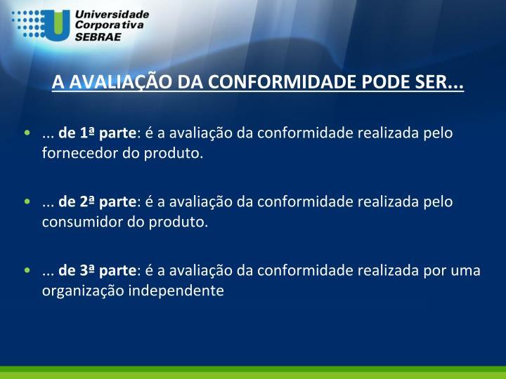 A AVALIAÇÃO DA CONFORMIDADE PODE SER...