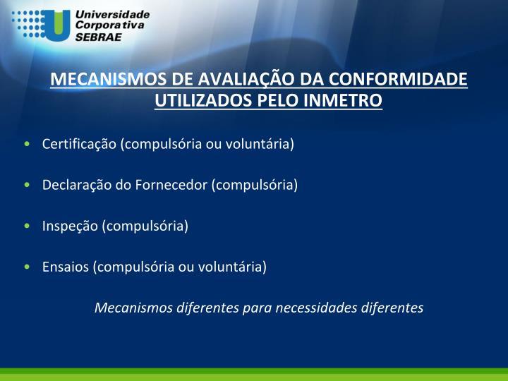 MECANISMOS DE AVALIAÇÃO DA CONFORMIDADE UTILIZADOS PELO INMETRO