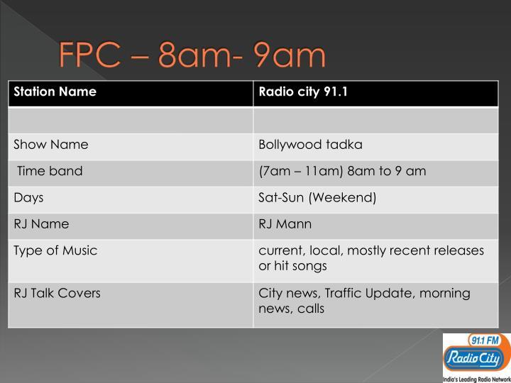 FPC – 8am- 9am