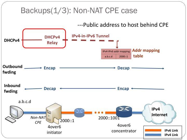 Backups(1/3): Non-NAT CPE case